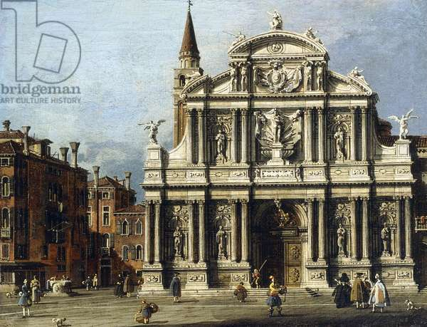 The Church and Campo of Santo Maria Zobenigo, Venice,  (oil on canvas)