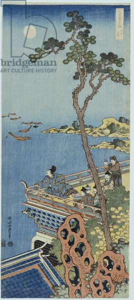 A Courtier on the Balcony of a Chinese Pavilion Looking in the Distance on a Moonlit Night, from the series 'A mirror of Chinese and Japanese verse' (colour woodblock print)