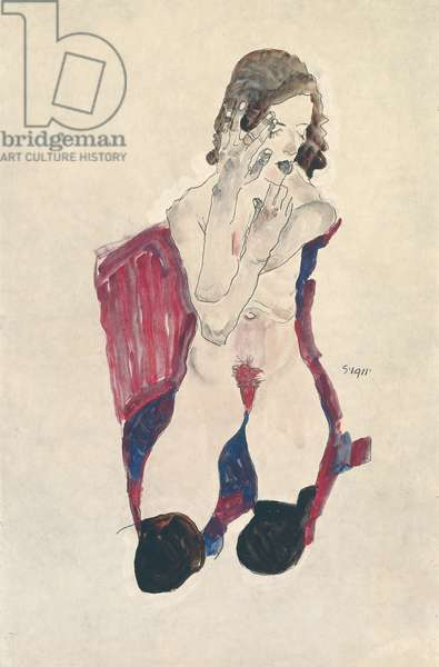 Seated Girl with Black Stockings and Folded Hands; Sitzendes Madchen mit schwarzen Strumpfen und vorgehaltenen Handen, 1911 (gouache, watercolour and pencil heightened with white on paper)