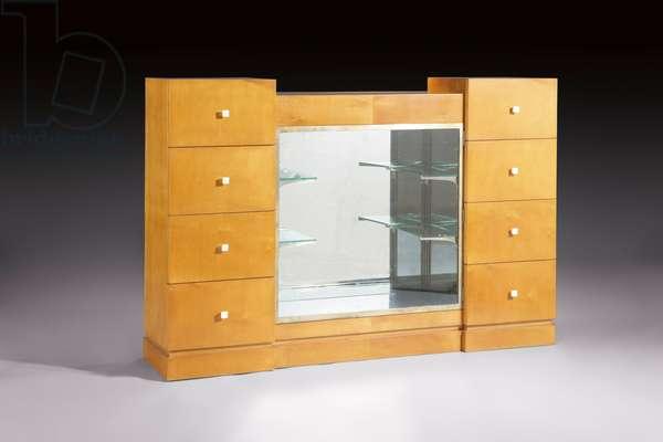 Illuminated vitrine cabinet, c.1925-30 (sycamore, glass, mirror & ivory)