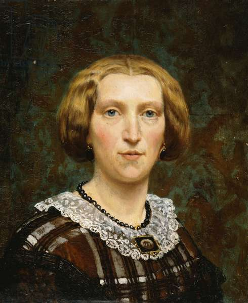 Portrait of Sientje Tadema, small bust length, in Brown and White Dress and Black Shawl, 1860 (oil on panel)