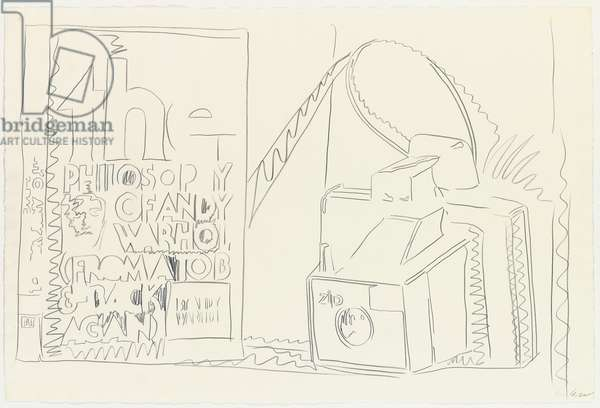 Still life with book and camera, 1975 (pencil on paper)
