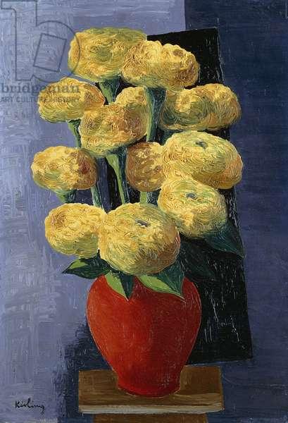 Yellow Flowers in a Red Vase; Fleurs Jaunes dans un Vase Rouge, 1932 (oil on canvas)