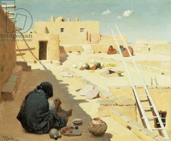 Zuni Pottery Maker, 1907 (oil on canvas)