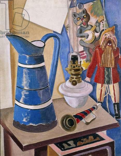 Still Life with a Jumping Jack; Stillben mit Hampelmann, 1927 (oil on canvas)