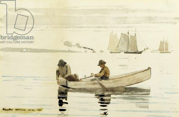 Boys Fishing, Gloucester Harbor, 1880 (w/c on paper)