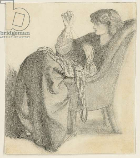 Lachesis: Study of Jane Morris Seated in a Chair Sewing, 1860s (pencil on paper)
