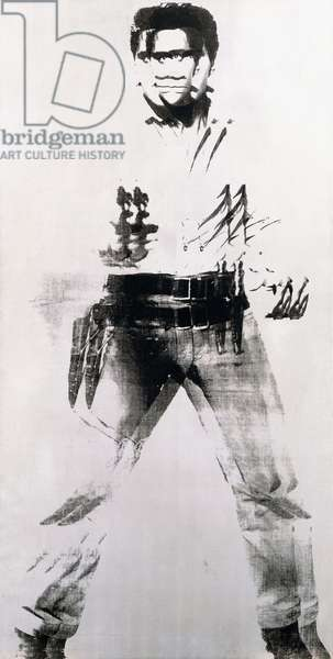Double Elvis, 1963 (silver paint, synthetic polymer and silkscreen inks on canvas)