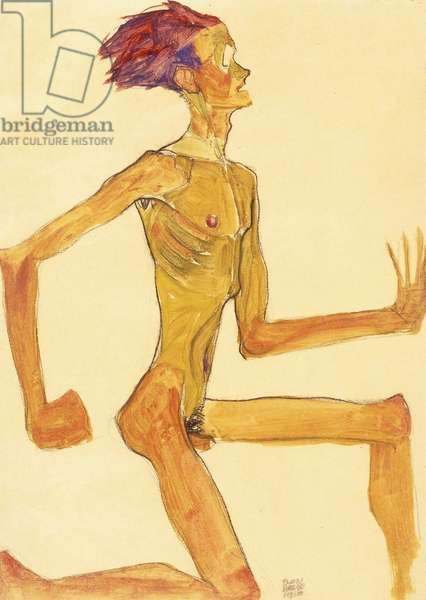 Kneeling Naked Man, in Profile to the Right (Self-Portrait), 1910 (gouache, watercolour and black crayon on tan paper)