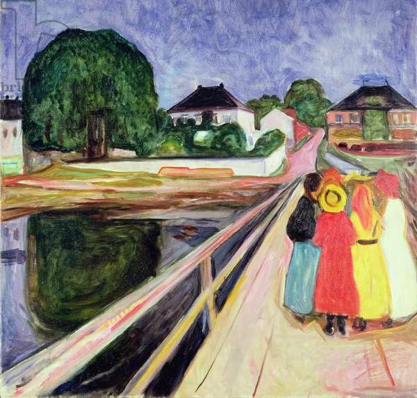 Girls on a Bridge (oil on canvas)