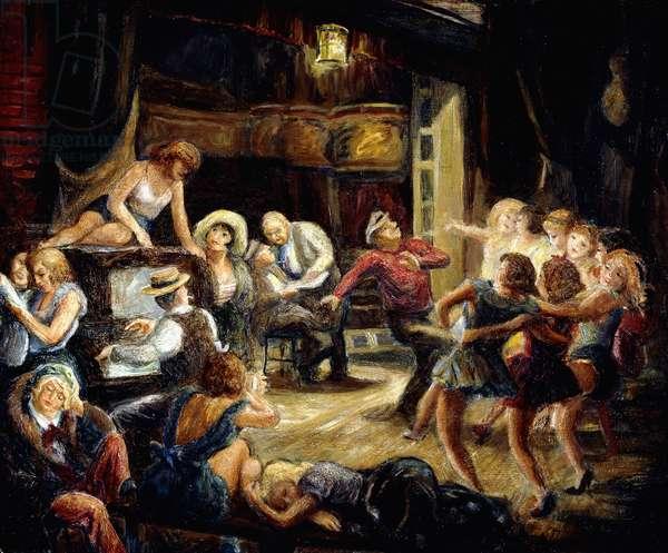 Dance Rehearsal (oil on masonite)