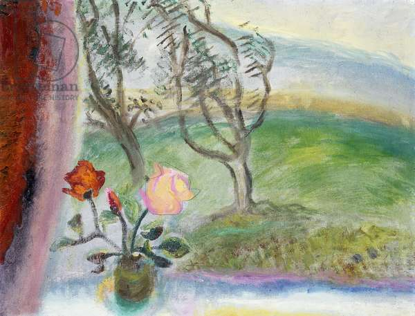 Still Life by a Window with the View from The Howard,  (oil on canvas)