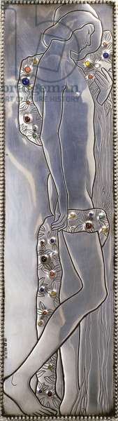 Inset panel of a Weiner Werkstatte white painted single bed depicting a naked androgynous figure (detail), c.1904 (silver, lapis lazuli, moonstones, malachite, coral, wood)