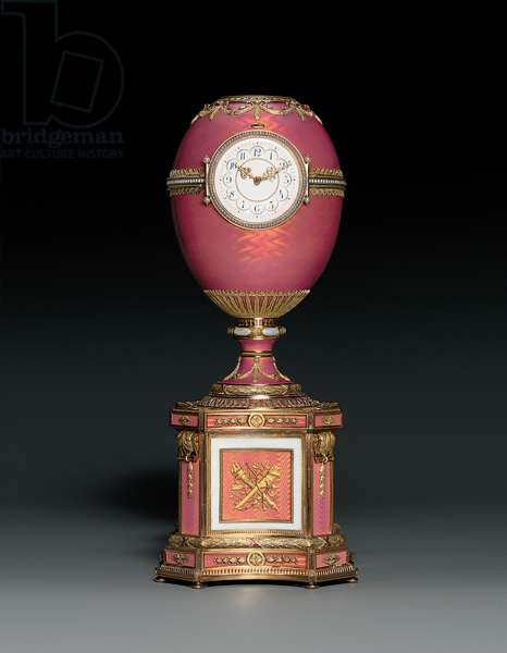 Jewelled vari-coloured gold-mounted and enamelled egg on plinth, incorporating a clock and an automaton, 1902 (gold, silver, enamel, seed pearls & precious stones)