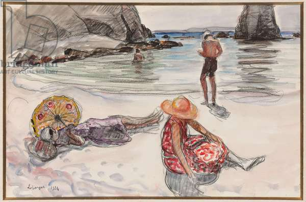 Crozon Peninsula, Portzic Beach; Presqu'ile de Crozon, Plage du Portzic, 1924 (gouache, watercolour and black crayon over pencil on paper)