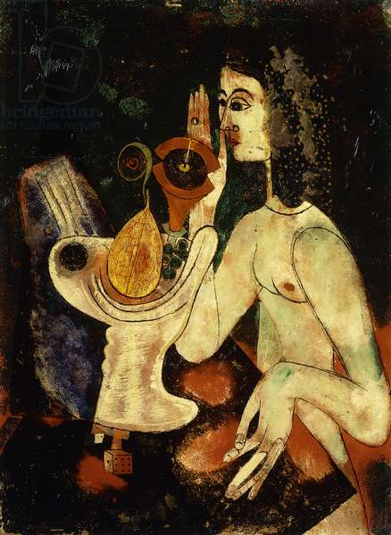 Female Nude with fruit bowl; Weiblicher Akt mit Fruchtschale, c.1924 (oil and mixed media on glass)