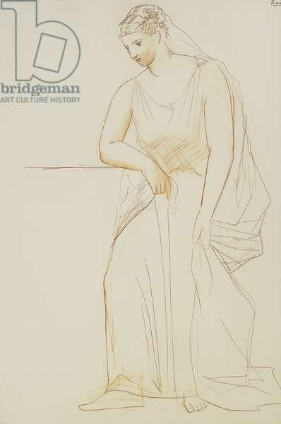 Veiled Woman; Femme au Voile, 1923-1924 (sanguine on canvas)