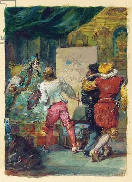 Moliere's 'Le Sicilien our l'Amour Peintre', Lemoisne, no.1357 (pencil, w/c & gouache on paper)