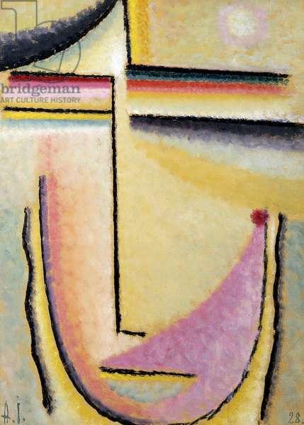 Abstract Head; Abstrakter Kopf, 1928 (oil on board)