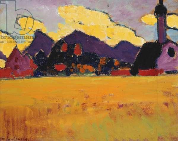 Landscape near Murnau; Landschaft bei Murnau, c.1910 (oil on board)