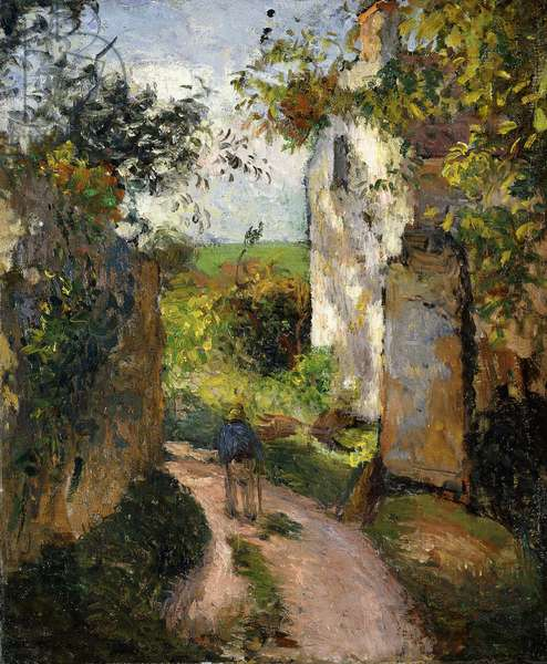 Peasant on an alley by a House, Pontoise; Paysan dans une Ruelle a l'Hermitage, Pontoise, 1876 (oil on canvas)