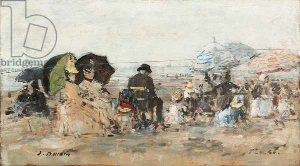 Trouville, beach scene; Trouville, scene de plage, 1886 (oil on panel)