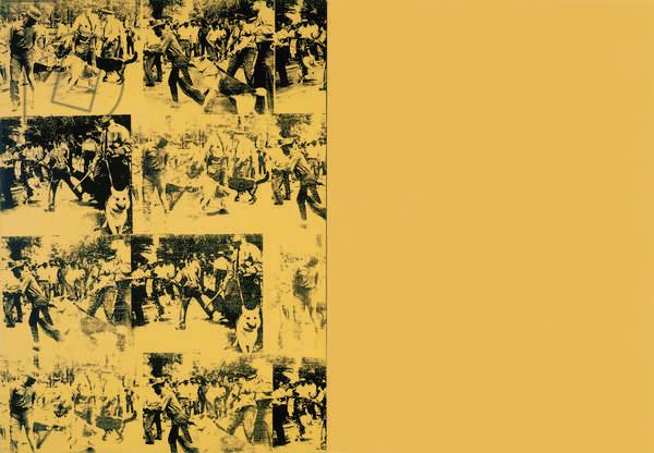 Mustard Race Riot, 1963 (acrylic, silkscreen ink & graphite on canvas)