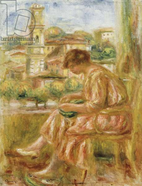 Woman at the Window with a view of Old Nice, 1918 (oil on canvas)