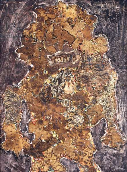 Flowered Tiger, 1959 (mixed media and botanical elements on paper laid down on board)