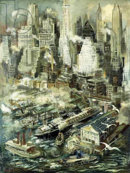 New York Harbor,  (oil on board)