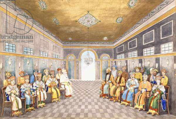 The Nawabs and Kings of Oudh in a palace interior with their servants in attendance, c.1800 (w/c on paper)