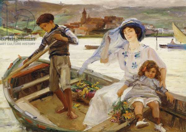 A Mother and Child being Ferried across a River with a Town Beyond, 1913 (oil on canvas)