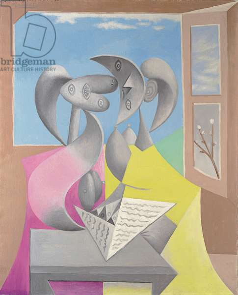 Two Figures (Marie-Therese and her Sister Reading), 1934 (oil on canvas)