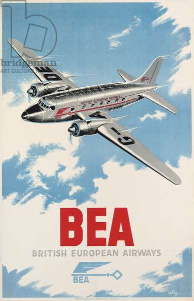 Advertising poster for British European Airways, c.1950 (colour lithograph)