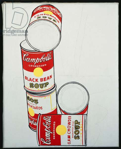 Group of Five Campbell's Soup Cans, 1962 (acrylic & graphite on canvas)