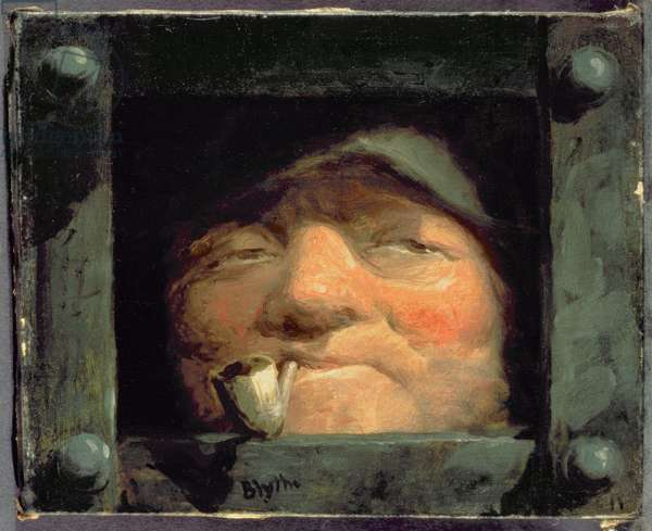Old Man Peering from Jail, Crime and Punishment (oil on canvas)