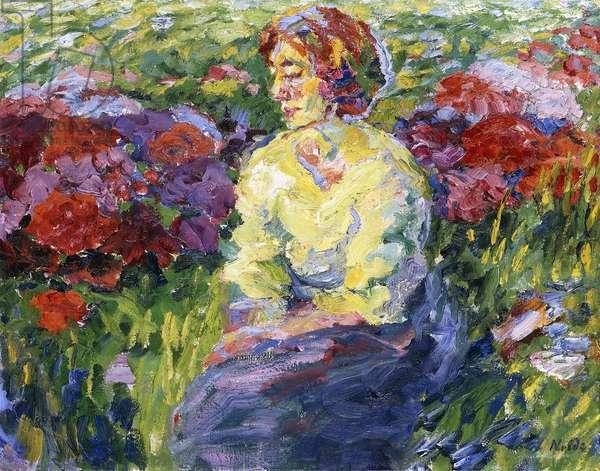 Female between Flowers; Frau zwischen Blumen, 1908 (oil on canvas)