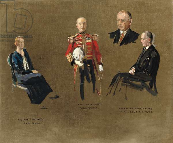 Portrait studies for 'The Master Mariners', 1932 (oil on canvas-board)