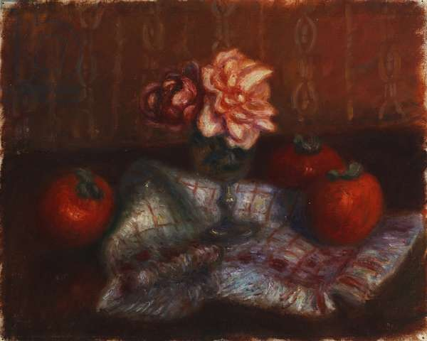 Roses and Persimmons,  (oil on canvasboard)