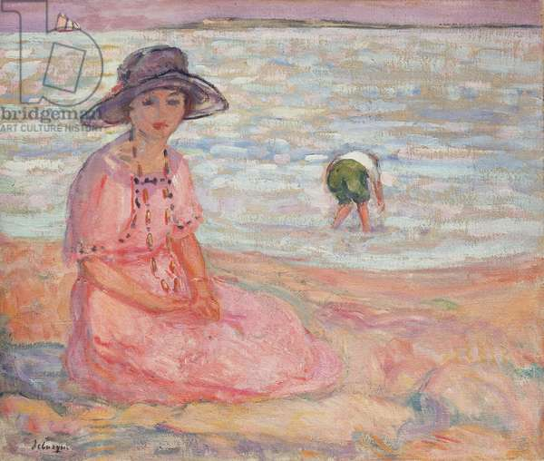 Woman in the Pink Dress by the Sea; Femme a la Robe Rose au bord de la Mer, c.1920 (oil on canvas)