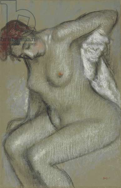 Nude Woman Drying Herself; Femme nue s'essuyant, 1895 (pastel and charcoal on toned paper,  laid down on canvas)