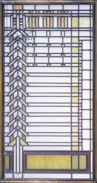 A leaded glass window designed by Frank Lloyd Wright (1867-1959), and executed by the Linden Glass Co., for the Darwin Martin house, Buffalo, New York, c.1903 (leaded glass)