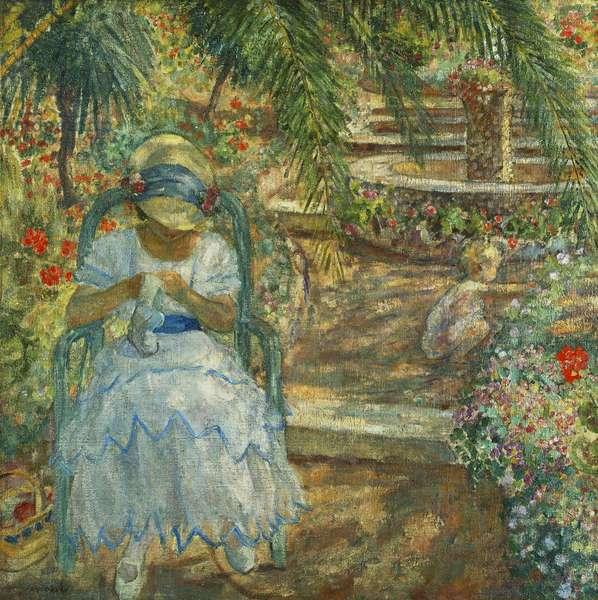 Under the Palm Trees; Sous les Palmiers, (oil on canvas)