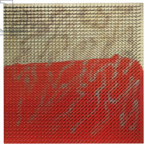 Intruding Red, Sequence, 1983 (nails, resin, graphite and spray enamel on canvas)