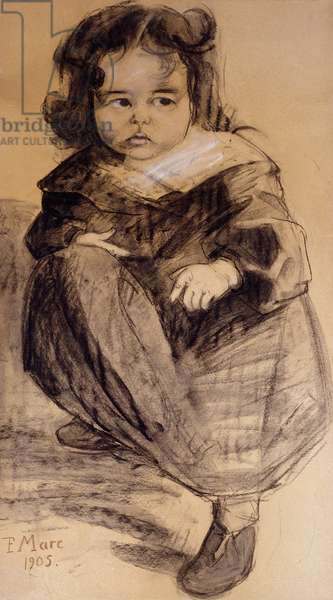 Little Girl with a White Collar, 1905 (charcoal and coloured chalks on paper)