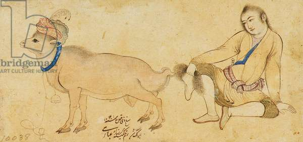 Study of a young man and a ram, 1630-31 or later (pen & wash on paper)