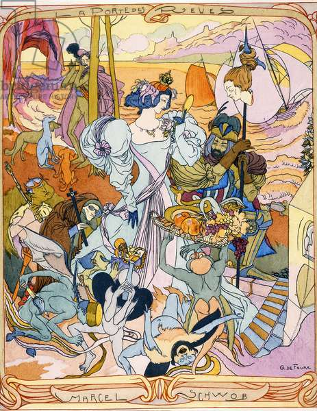 Central panel of a triptych illustration from the book 'La Porte des Reves' by Marcel Schwob, 1899 (colour engraving)