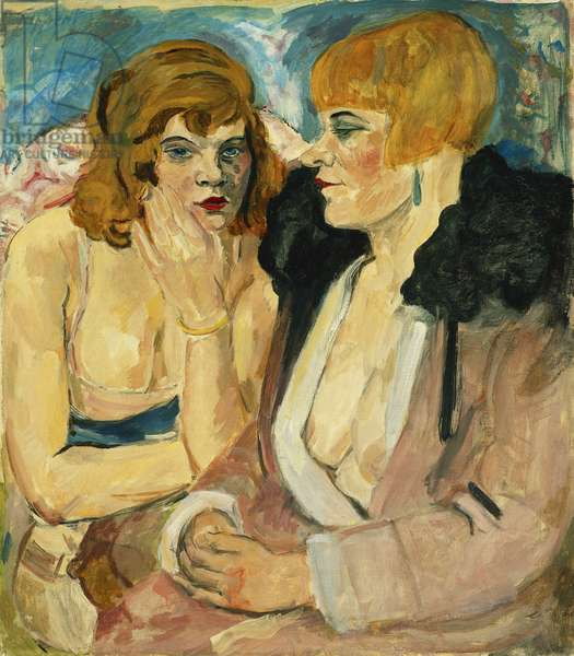 Two Seated Girls; Zwei Sitzende Madchen, c. 1923-33 (oil on canvas)