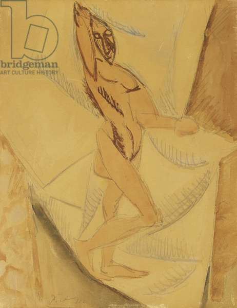 Study for a Nude with Drapery, 1907 (watercolour and pencil on tan paper laid down on canvas)