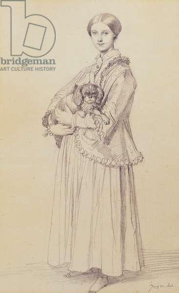 Portrait of Mademoiselle Marie Reiset, later Vicomtesse Adolphe-Louis-Edgar de Segur-Lamoignon, 1850 (black lead on paper)